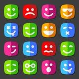 Ícones lisos da emoção do vetor com caras do smiley Imagens de Stock Royalty Free