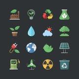 Ícones lisos da energia de Eco do estilo da cor ajustados ilustração stock