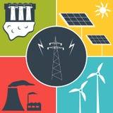 Ícones lisos da energia elétrica Fotografia de Stock