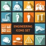 Ícones lisos da engenharia ajustados