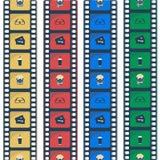 Ícones lisos da escada do cinema Filme a tira ilustração royalty free