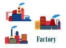 Ícones lisos da fábrica e das plantas Imagens de Stock Royalty Free