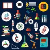 Ícones lisos da física e da química da ciência Fotografia de Stock Royalty Free