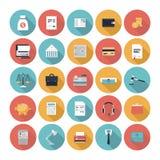 Ícones lisos da finança e do mercado ajustados ilustração royalty free