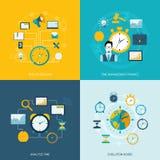 Ícones lisos da gestão de tempo ilustração stock