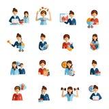 Ícones lisos da mãe da mulher de negócios ajustados Imagem de Stock
