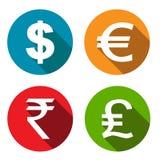Ícones lisos da moeda ajustados ilustração do vetor