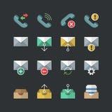 Ícones lisos da notificação do telefone do estilo da cor ajustados ilustração stock