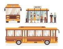 Ícones lisos da parada do ônibus da cidade ilustração royalty free