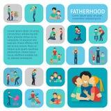 Ícones lisos da paternidade ajustados Fotos de Stock Royalty Free