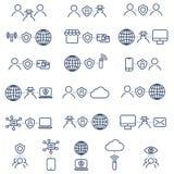 Ícones lisos da proteção e da segurança do projeto ajustados Fotografia de Stock Royalty Free
