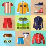 Ícones lisos da roupa ajustados para homens Fotos de Stock