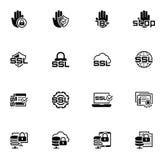 Ícones lisos da segurança e da proteção do projeto ajustados Foto de Stock