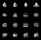 Ícones lisos da segurança e da proteção do projeto ajustados Fotos de Stock