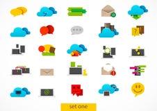 Ícones lisos da tecnologia da nuvem Ilustração Royalty Free