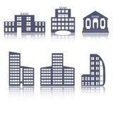 Ícones lisos da Web do projeto das construções ajustados Imagem de Stock Royalty Free