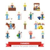 Ícones lisos da Web dos povos do trabalhador do fazendeiro da profissão da exploração agrícola do vetor Imagens de Stock