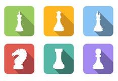 Ícones lisos da xadrez ajustados ilustração stock