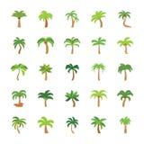 Ícones lisos das árvores ajustados ilustração stock