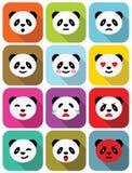 Ícones lisos das emoções do urso de panda ajustados. Fotografia de Stock
