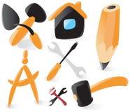 Ícones lisos das ferramentas ilustração stock