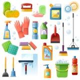 Ícones lisos das ferramentas das fontes de limpeza ajustados ilustração do vetor