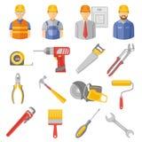 Ícones lisos das ferramentas dos trabalhadores da construção ajustados Imagem de Stock