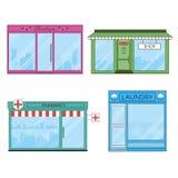 Ícones lisos das lojas e das lojas ilustração do vetor