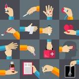 Ícones lisos das mãos médicas ajustados Fotos de Stock Royalty Free