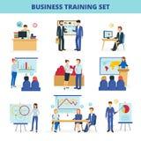 Ícones lisos das oficinas do treinamento do negócio ajustados Fotos de Stock Royalty Free