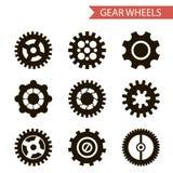 Ícones lisos das rodas de engrenagem do preto do estilo do projeto ajustados Imagem de Stock