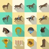 Ícones lisos das sombras da equitação ajustados Fotos de Stock Royalty Free