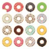 Ícones lisos de anéis de espuma coloridos vitrificados ilustração do vetor