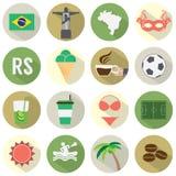 Ícones lisos de Brasil do projeto ajustados Imagens de Stock