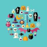Ícones lisos de Dia das Bruxas ajustados sobre o azul Imagens de Stock Royalty Free
