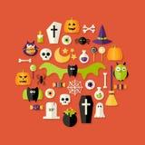 Ícones lisos de Dia das Bruxas ajustados sobre o vermelho Imagens de Stock