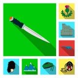 Ícones lisos de Escócia do país na coleção do grupo para o projeto Sightseeing, cultura e tradição vector a Web conservada em est ilustração stock
