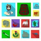 Ícones lisos de Escócia do país na coleção do grupo para o projeto Sightseeing, cultura e tradição vector a Web conservada em est ilustração do vetor