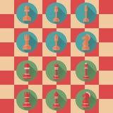 Ícones lisos de figuras da xadrez Imagem de Stock