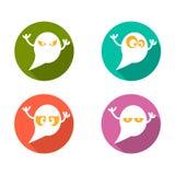 Ícones lisos de Ghost ajustados Foto de Stock