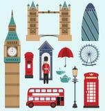 Ícones lisos de Londres, Reino Unido Fotos de Stock