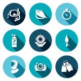 Ícones lisos de mergulho ajustados Fotografia de Stock Royalty Free