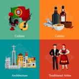 Ícones lisos de Portugal 2x2 ajustados ilustração stock