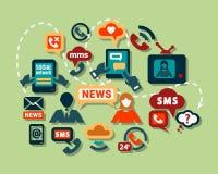 Ícones lisos de uma comunicação Imagem de Stock