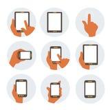 Ícones lisos de uma comunicação móvel Fotografia de Stock