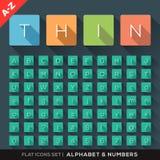 Ícones lisos do alfabeto e do número ajustados ilustração royalty free