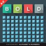 Ícones lisos do alfabeto e do número ajustados ilustração stock
