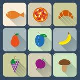 Ícones lisos do alimento Imagens de Stock Royalty Free
