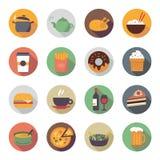 Ícones lisos do alimento nos círculos Imagens de Stock