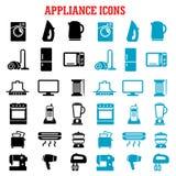 Ícones lisos do aparelho eletrodoméstico e do equipamento Fotos de Stock Royalty Free